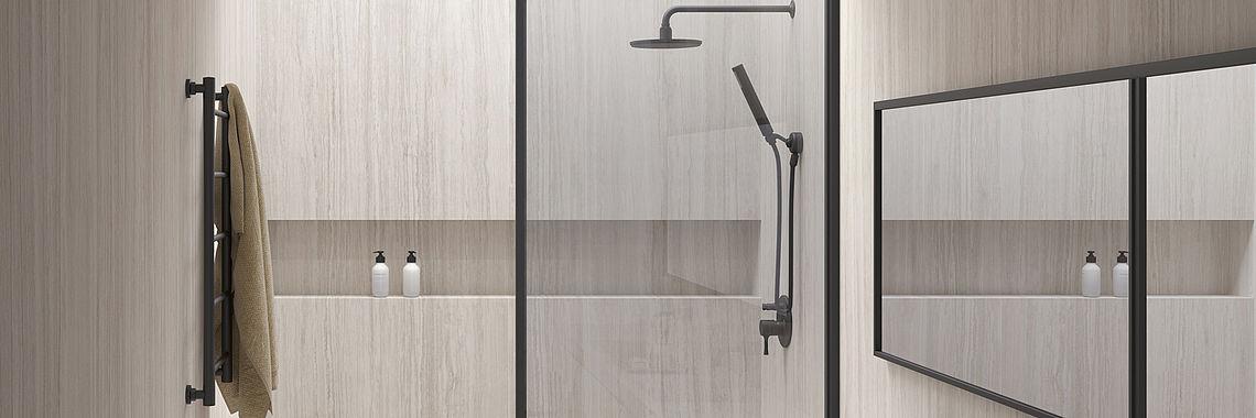 duschwandpartner die fliese der zukunft fuer fugenlose duschen und wandverkleidungen. Black Bedroom Furniture Sets. Home Design Ideas